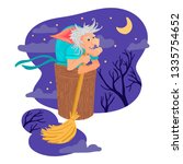 a terrible evil witch  an old... | Shutterstock .eps vector #1335754652