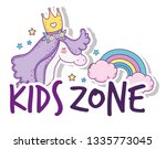 unicorn wearing crown with... | Shutterstock .eps vector #1335773045