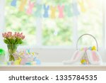 easter home decoration. basket...   Shutterstock . vector #1335784535