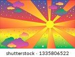 retro hippie style psychedelic... | Shutterstock .eps vector #1335806522