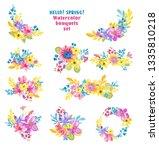 watercolor flowers over white... | Shutterstock . vector #1335810218