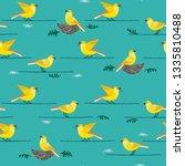 hand drawn birds seamless... | Shutterstock .eps vector #1335810488