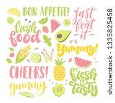vector set of lettering ... | Shutterstock .eps vector #1335825458