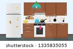 beautifully furnished kitchen | Shutterstock .eps vector #1335835055