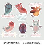 cute woodland owls. funny... | Shutterstock .eps vector #1335859502