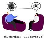 happy man in the seat of... | Shutterstock .eps vector #1335895595