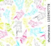 sketch poses of lacrosse... | Shutterstock .eps vector #1335907778