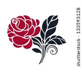 card with vector stylized rose | Shutterstock .eps vector #133593128