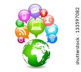 vector social media planet | Shutterstock .eps vector #133597082