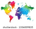 world map. continents and... | Shutterstock .eps vector #1336009835