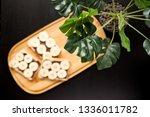 three banana white bread toasts ... | Shutterstock . vector #1336011782