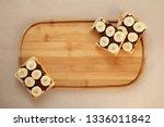 three banana white bread toasts ... | Shutterstock . vector #1336011842