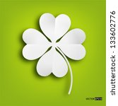 Paper Clover Leaf On Green...