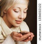 coffee beans. beautiful blond... | Shutterstock . vector #1336032122
