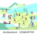 people spending time  relaxing... | Shutterstock .eps vector #1336045745