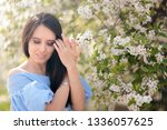 outdoors portrait of a spring... | Shutterstock . vector #1336057625