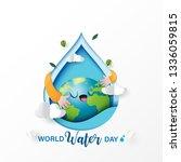 world water day.paper art of... | Shutterstock .eps vector #1336059815
