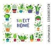 square frame of home plants ... | Shutterstock .eps vector #1336081928