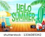 hello summer poster landscape... | Shutterstock .eps vector #1336085342
