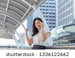asian young business people are ... | Shutterstock . vector #1336122662