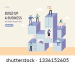 business people above a stacked ... | Shutterstock .eps vector #1336152605