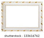 gold wood white frame isolated... | Shutterstock . vector #133616762