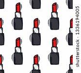 lipstick seamless doodle pattern | Shutterstock .eps vector #1336194005