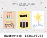 happy birthday poster with cute ... | Shutterstock .eps vector #1336195085