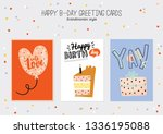happy birthday poster with cute ... | Shutterstock .eps vector #1336195088