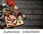 grilled beef steak with herbs... | Shutterstock . vector #1336196045