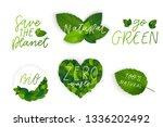 vector eco organic bio logos...   Shutterstock .eps vector #1336202492