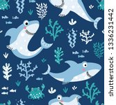 Cute Pattern With Sharks And...