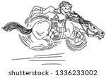 cartoon horse racing derby .... | Shutterstock .eps vector #1336233002