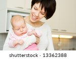 young mother holding her baby | Shutterstock . vector #13362388