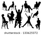 set of sitting people... | Shutterstock .eps vector #133625372