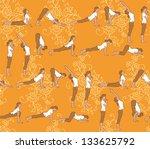 sun salutation yoga poses... | Shutterstock .eps vector #133625792