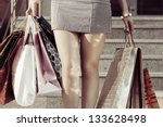 female hands holding a shopping ... | Shutterstock . vector #133628498