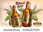 wheat beer ads with woodcut... | Shutterstock .eps vector #1336297535