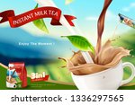 instant milk tea ads with bokeh ... | Shutterstock .eps vector #1336297565