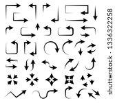 black set of arrows. hand drawn ... | Shutterstock .eps vector #1336322258