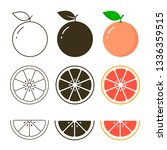 grapefruit icon set on white... | Shutterstock .eps vector #1336359515