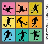 soccer boy silhouettes 1. very... | Shutterstock .eps vector #133636238