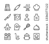 cooking line icons set. kitchen ... | Shutterstock .eps vector #1336377122