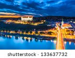 evening panorama of bratislava  ... | Shutterstock . vector #133637732