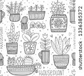 set of different home plants in ... | Shutterstock .eps vector #1336385372