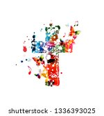 colorful christian cross with... | Shutterstock .eps vector #1336393025