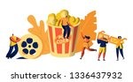 cinema movie time with popcorn... | Shutterstock .eps vector #1336437932