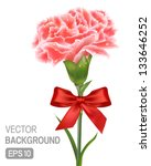On the white background with ribbons of pink carnations