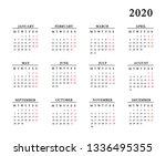 calendar for 2020 on white...   Shutterstock . vector #1336495355