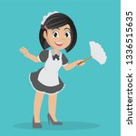 cartoon character  girl holding ... | Shutterstock .eps vector #1336515635